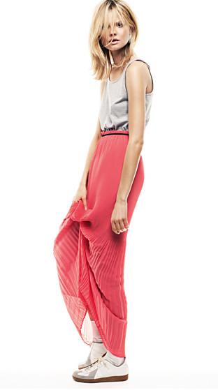 falda larga rosa frambuesa rosa pink plisada