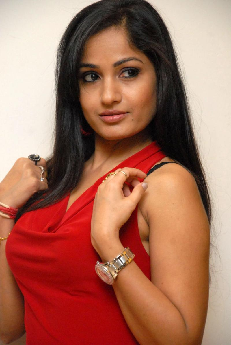Beautiful Telugu Girl Madhavi Latha Long Hair In Red Dress