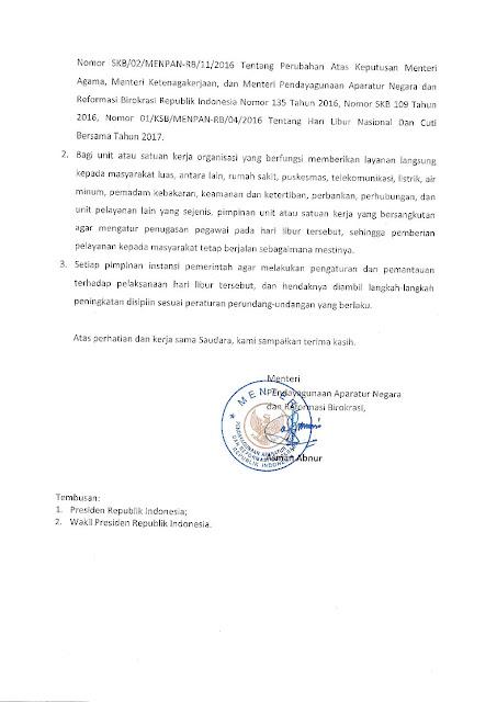 Surat Menteri PANRB Pelaksanaan Hari Libur Pilkada Untuk ASN