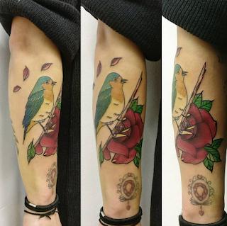 gambar tato keren burung berwarna