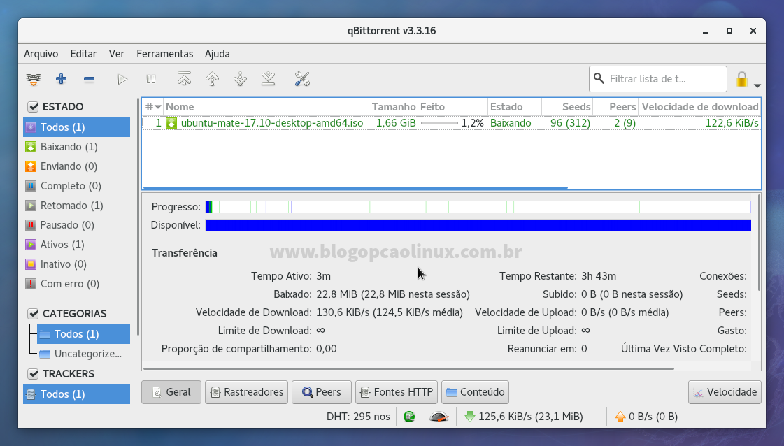 Tela inicial do qBittorrent executando no Fedora 27 Workstation