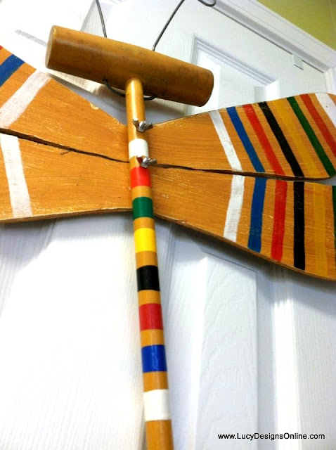 croquet mallet dragonfly art