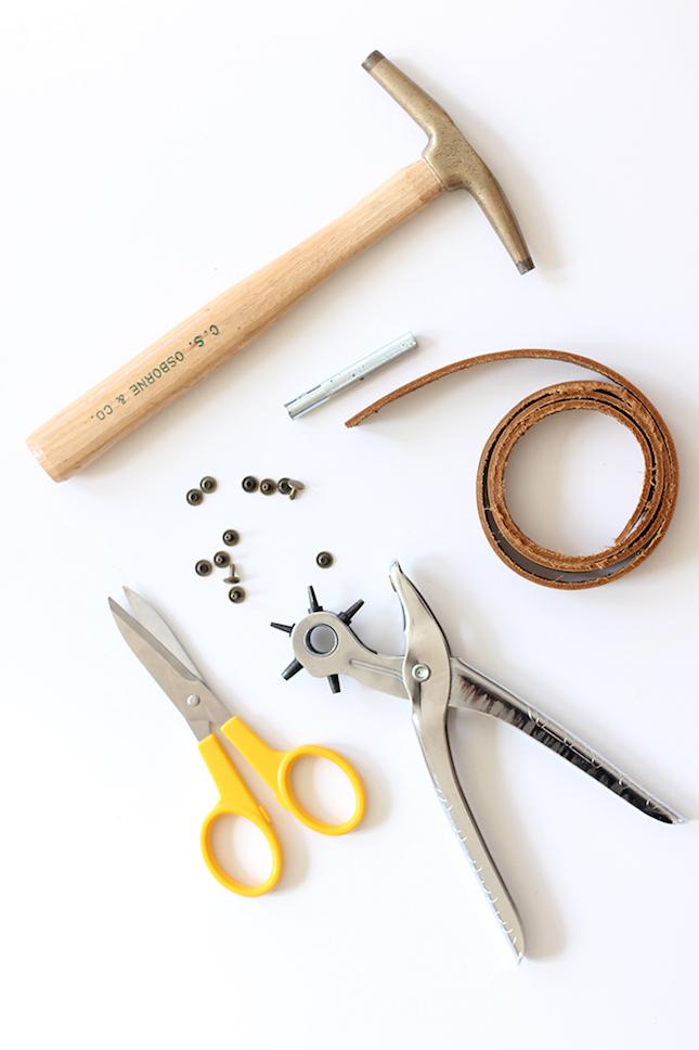 materiales para hacer una cesta con cuerda y cuero