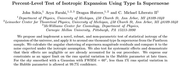 Using supernova measurement of isotropic expansion (Source: Soltis, et al, arXiv:1902.07189v1)