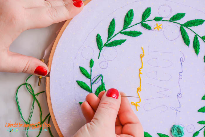 Stitching Embroidery Leaves