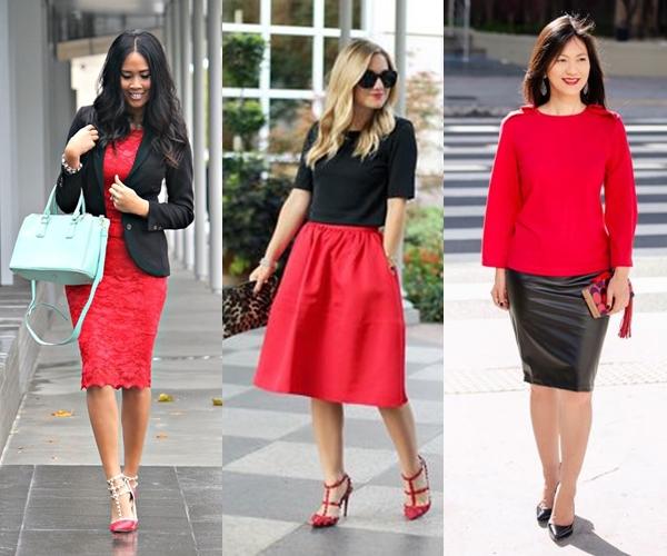 saia vermelha, blusa preta, vestido vermelho, blazer preto, saia vermelha com blusa preta, saia preta com blusa vermelha,