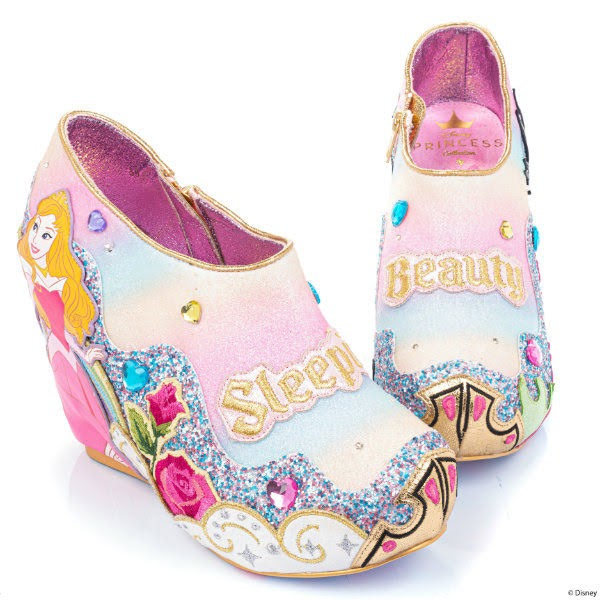 wedge shoes in pastel rainbow glitter uppers with lights and Disney Sleeping Beauty character details