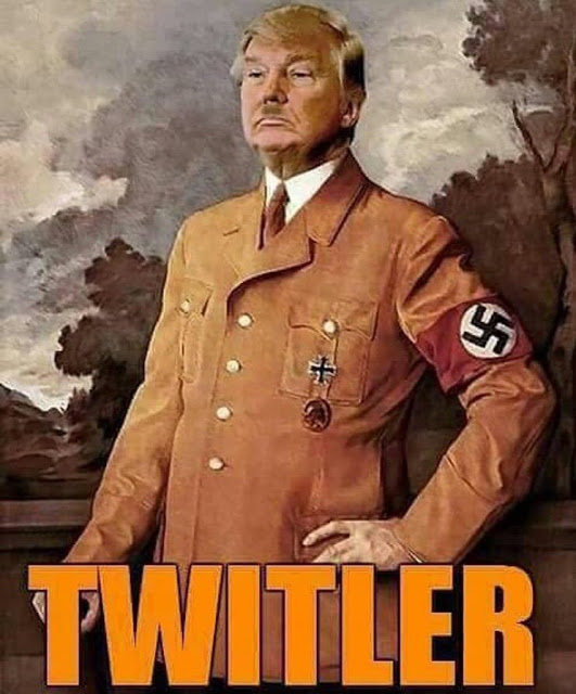 Trump parody painting. Trump plus Hitler equals Twittler. Lost your confederate flag, but want everyone to know you are a racist? Try a Trump bumper sticker. marchmatron.com