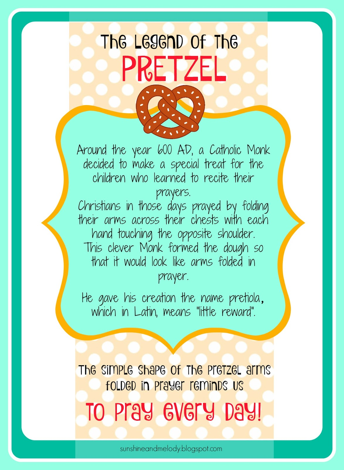 Sunshine And Melody Pretzels And Prayer Activity