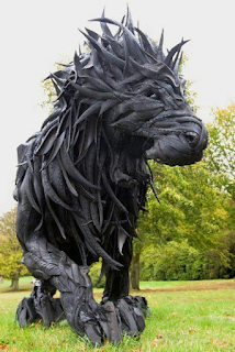 Huge sculpture made from pieces of recycled tires.