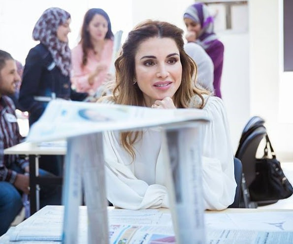 QRTA's Pre-Service Professional Diploma Program: Teachers Are Our Partners in The Education Reform Process, Queen Rania style wore Fendi blouse and skirt, Gianvito Rossi pumps