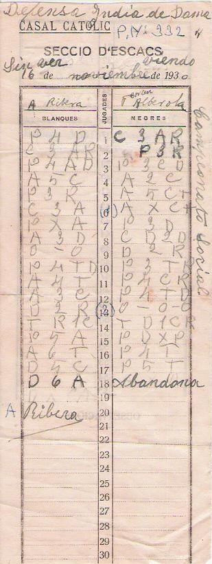 Planilla de la partida de ajedrez Ribera - Alberola, 16 de marzo de 1930