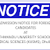 MBBS/BDS program admission notice for foreign candidates at KUSMS Dhulikhel