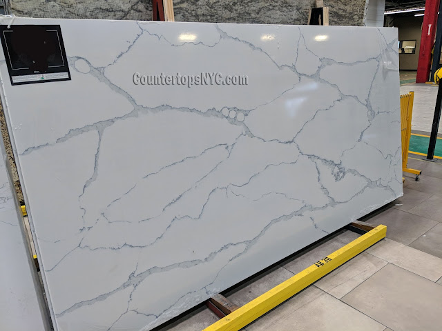 Calacatta trento white quartz slab NYC