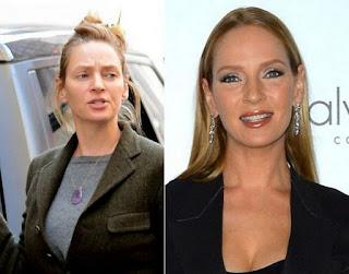fotos de famosos antes e depois da maquiagem - Uma Thurman