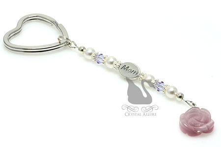 Lavender Rose MOM Pearl Beaded Keychain (K101)