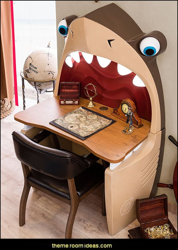 Shark Desk  Shark Bedrooms - shark murals - shark bedding  - Shark Decor - shark wall decals - shark theme bedroom decorating ideas - surf shack bedrooms - nautical bedrooms - 3d shark wall decorations - surfing theme bedrooms