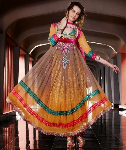 Anarkali multi color pakistani girls frock designs collection 2016