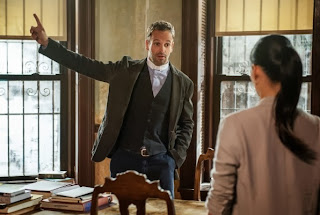 Jonny Lee Miller and Lucy Liu as Sherlock Holmes and Joan Watson in CBS Elementary Season 2 Episode 5 Ancient History