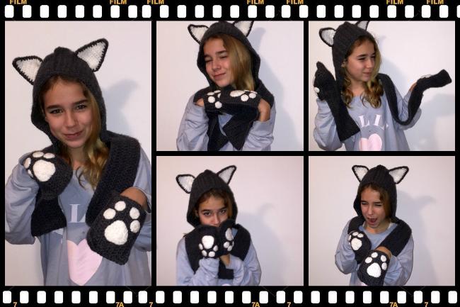 Gorro capucha gato a crochet