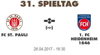 31ª Rodada - FC St. Pauli vs. FC Heidenheim - 28/04/2017