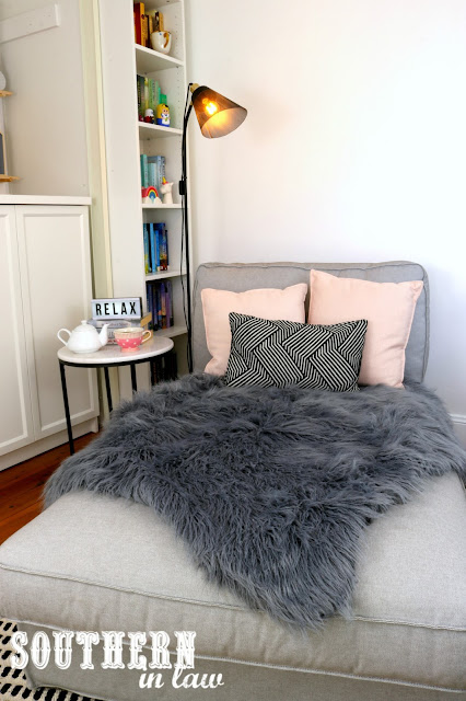 Cosy Winter Home Styling Inspiration – Pink and Grey Decor Theme for Bedroom, Living Room or Home Office on a Budget - IKEA Kivik Chaise Chair Sofa