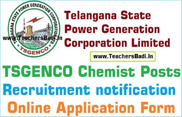 TSGenco Chemist Posts,Recruitment,Online application form