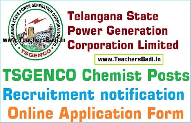 TSGenco Chemist Posts,Recruitment,Online application form