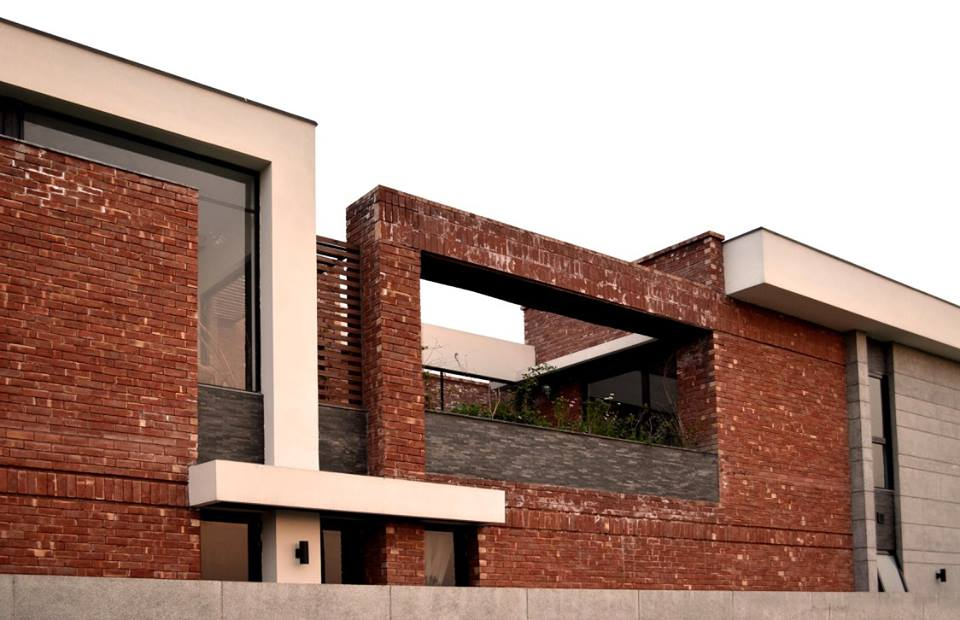 Modern House with Red Bricks Tiles (Gutka) Elevation ~ 3D ...