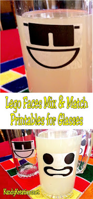 Make quick and easy Lego faces out of your favorite glasses using these mix and match label printables. Simply pick your designs, print, assemble to a glass, and fill with a yellow beverage to bring your favorite Lego characters to the dinner table.