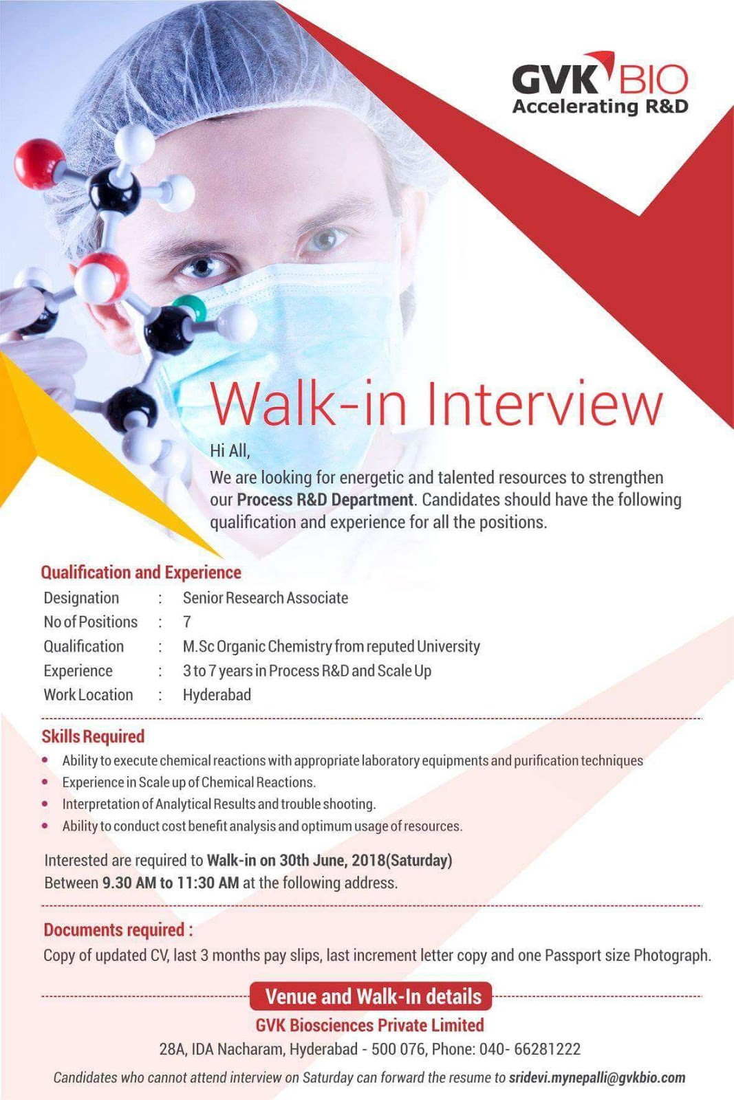 Walk-In Interview for Senior Research Associate - Process R&D and Scale Up on 30-06-2018.
