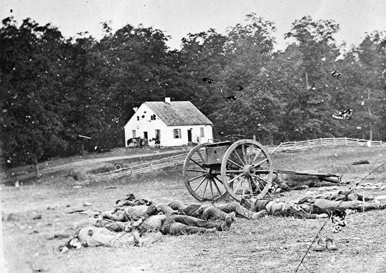 Bodies of soldiers lie on the ground in front of Dunker Church, after the Battle of Antietam, in Maryland, in September of 1862.