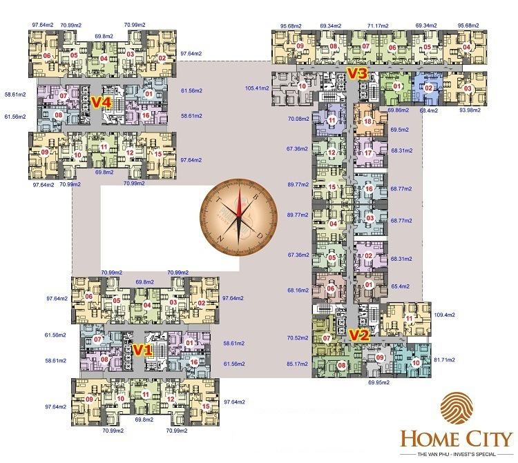 Mặt bằng chung cư Home City Trung Kính