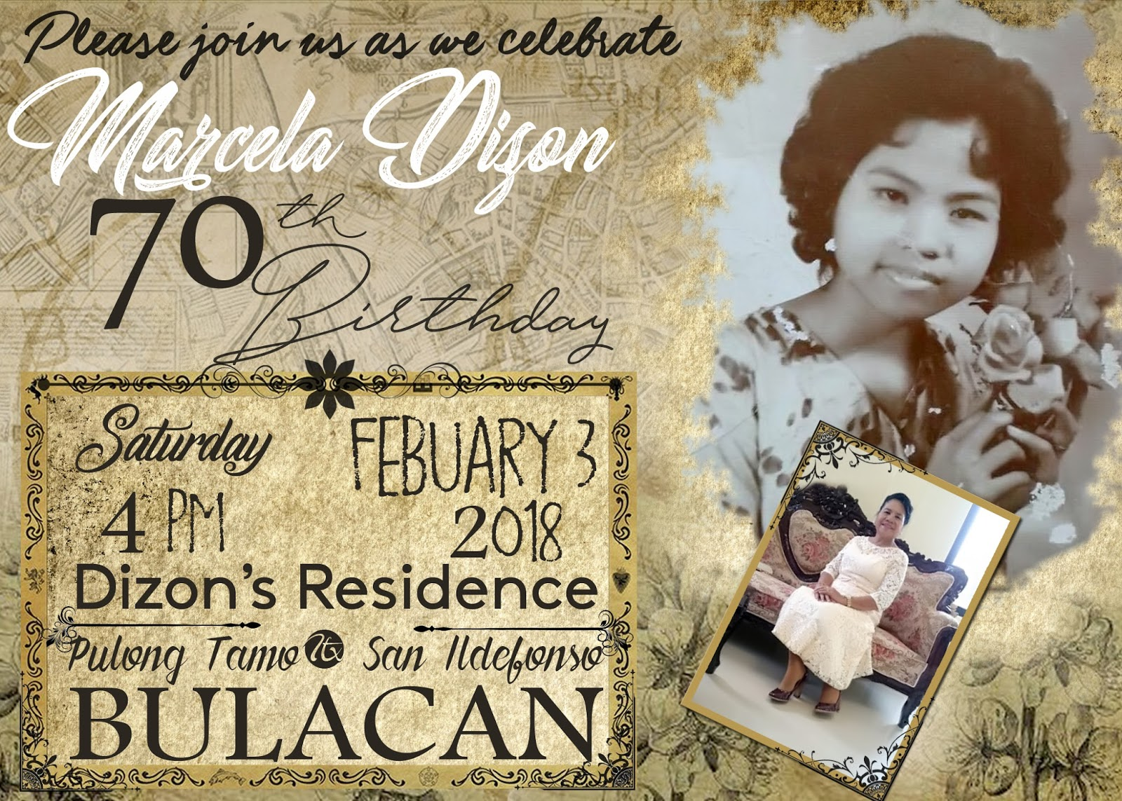 Vintage Sample Design For 70th Birthday Invitation