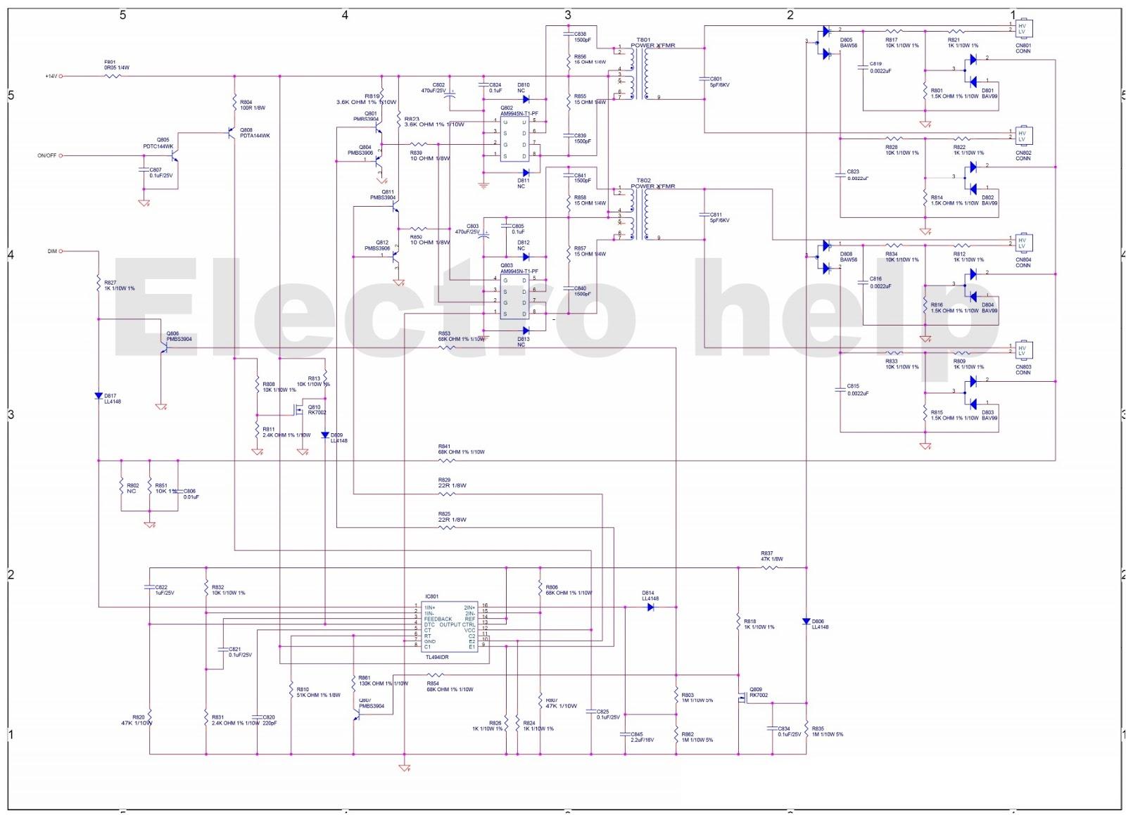 Acer V223w  U2013 Tft Lcd Monitor  U2013 Smps And Back-light Inverter Schematic