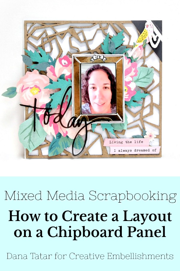Chipboard Panel Scrapbook Layout with Patterned Paper Fussy Cuts and Chipboard Leaves