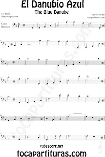 Partitura de El Danubio Azul para Violonchelo y Fagot de Johann Strauss The Blue Danube Sheet Music for Cello and  Bassoon Classical music