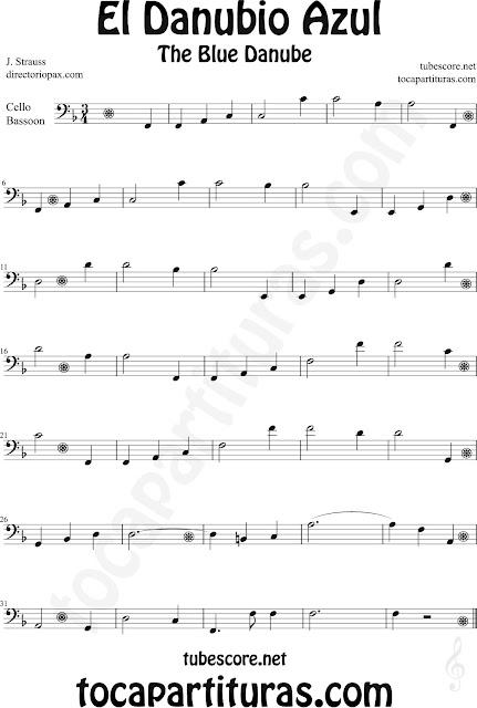 Partitura de El Danubio Azul para Violonchelo y Fagot de Johann Strauss The Blue Danube Sheet Music for Cello and  Bassoon Classical music
