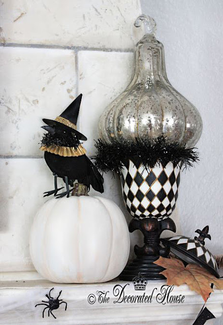 Elegant and fun Halloween Decorating in Black and White. Crows with hats, Annie Sloan Chalk Paint Pumpkin and Mercury Glass