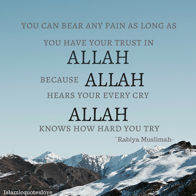 Remember Allah does not burden a soul beyond that it can bear....so put your trust in Allah, & you can bear any pain In Sha Allah...Allah hears every cry,  sees every tears & Allah knows how hard you try...so be patient... Allah is always with you..In Sha Allah