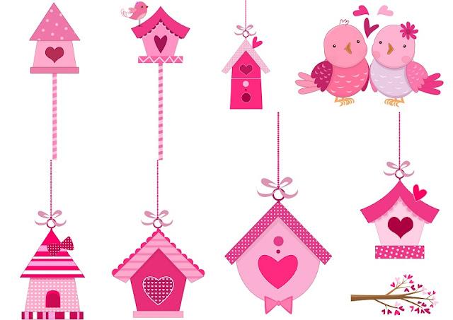 Pink in Love Birds Clipart.