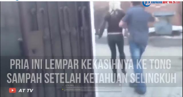 Wanita ini Pasrah Dilempar ke Tong Sampah Karena Terpergok Selingkuh