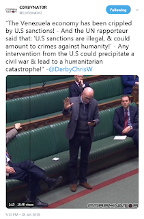 The Venezuelan economy has been cripped by US sanctions, and the UN rapporteur said that UN sanctions are illegal and could amount to a war crime any intervention from the US could precipitate a civil war & lead to a humanitarian catastrophe @DerbyChrisW