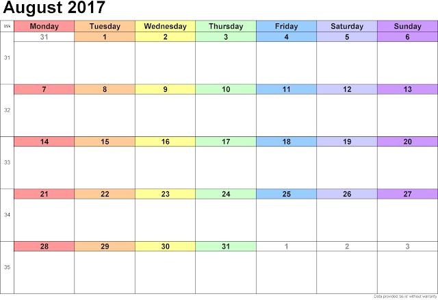 August 2017 Calendar, August 2017 Printable Calendar, August 2017 Calendar Printable, August 2017 Calendar Template, August Calendar 2017