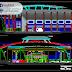 مخطط قاعة رياضية مغلقة اوتوكاد DWG