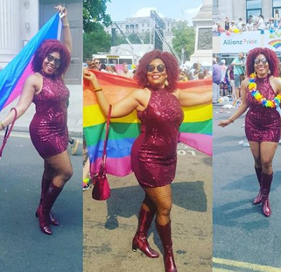 See Nigerian Open Bisexual Woman Attends London Gay Pride Post Photos With Jesus Look Alike