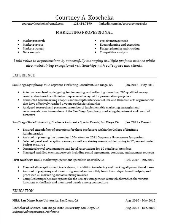 Business School Resume Examples - Examples of Resumes