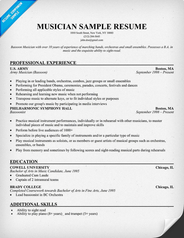 Music Resume Samples Sample Resumes - some sample resumes