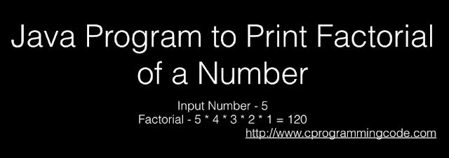 Programming Tutorials: Java Program to Print Factorial of
