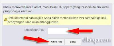 formulir masukkan PIN